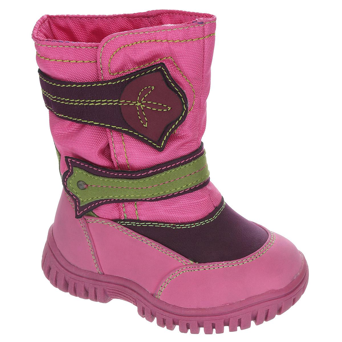 Сапоги для девочки Аллигаша, цвет: фуксия, зеленый, фиолетовый. 13-383. Размер 24 (23)13-383Замечательные сапоги для девочки Аллигаша, изготовленные из современных материалов, обеспечат удобство и комфорт ножкам вашей малышки в прохладную погоду. Верх выполнен из комбинаций искусственной кожи (нубука) и текстиля с пропиткой от промокания, а также оформлен текстильными ставками и контрастной прострочкой. Модель на высокой рифленой подошве с округлым мыском обеспечивает удобство и практичность на каждый день. Удобная пяточная часть укреплена. Внутренняя отделка из текстиля и шерсти. Две застежки-липучки оригинального дизайна по линии подъема обеспечивают практичность и комфортную фиксацию модели на ноге. Стелька из натуральной шерсти не даст ножке замерзнуть. Прорезиненная подошва с протектором обеспечивает удобство и комфорт в носке при любой погоде.В таких сапожках ножкам вашего ребенка всегда будет комфортно, уютно и тепло!