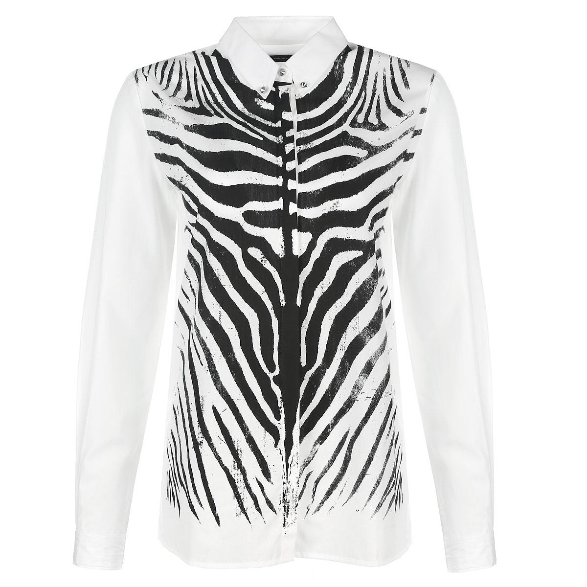 Рубашка женская Diesel, цвет: белый, черный. 00SJBL-0DAJX/100. Размер S (44)00SJBL-0DAJX/100Стильная женская рубашка Diesel, выполненная из высококачественного хлопка, очень комфортна при носке. Модель прямого кроя с длинными рукавами и отложным воротничком застегивается на пуговицы. Рубашка спереди оформлена принтом под зебру. Воротник дополнен тремя металлическими пуговицами в виде щипов. Манжеты также застегиваются на декоративные пуговицы-щипы. Такая рубашка будет дарить вам комфорт в течение всего дня и послужит замечательным дополнением к вашему гардеробу.