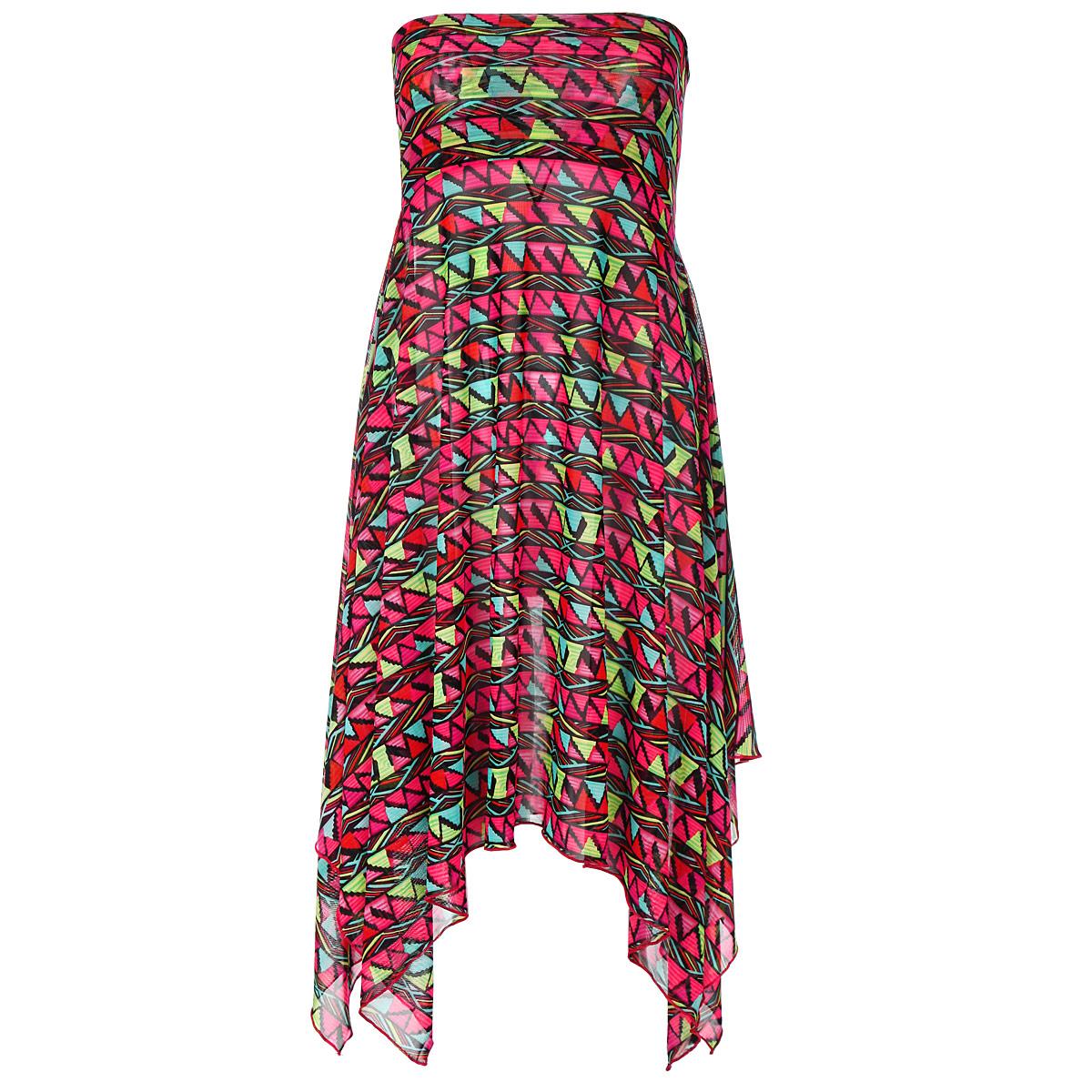 Платье-юбка Barbara Bettoni, цвет: мультицвет. BB715. Размер S (44)BB715Удобное и функциональное платье-юбка Barbara Bettoni, выполненное из сетчатого полиэстера, оформлено ярким принтовым узором. Изделие представляет собой расклешенную юбку на широком поясе с боковым разрезом по всей длине. Края модели асимметричные, что создает необычный силуэт и добавляет изысканности образу. Изделие также великолепно смотрится и как короткое платье-бандо. В сочетании с ярким купальником платье-юбка от Barbara Bettoni позволит создать стильный пляжный ансамбль, в котором вы не останетесь незамеченной! Новая коллекция пляжной одежды от марки Barbara Bettoni отражает мировые тенденции пляжной моды и выступает прекрасным дополнением к коллекции купальников Barbara Bettoni Moda Di Mare.