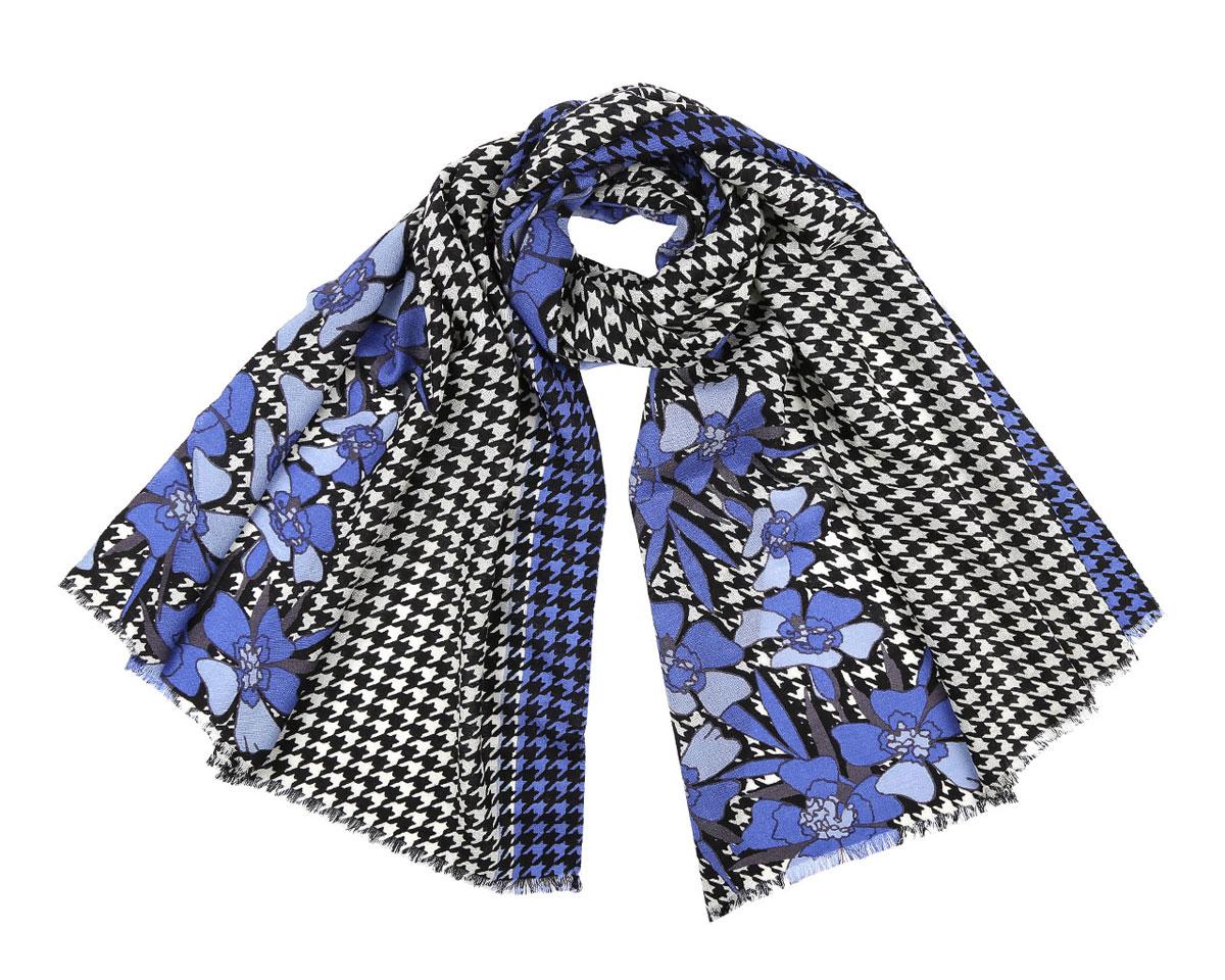 Шарф женский Leo Ventoni, цвет: бежевый, черный, синий. 513308-1. Размер 184 см х 70 см513308-1Модный женский шарф Leo Ventoni подарит вам уют и станет стильным аксессуаром, который призван подчеркнуть вашу индивидуальность и женственность. Шарф выполнен из 100% шерсти, оформлен принтом в мелкую клетку и изображениями цветов, а также дополнен тонкой бахромой по краям.Этот модный аксессуар гармонично дополнит образ современной женщины, следящей за своим имиджем и стремящейся всегда оставаться стильной и элегантной. Такой шарф украсит любой наряд и согреет вас в непогоду, с ним вы всегда будете выглядеть изысканно и оригинально.
