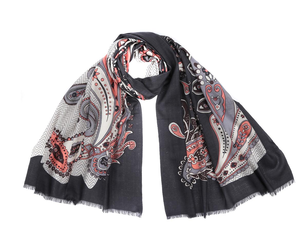 Шарф женский Fabretti, цвет: черный, серый, розовый. YNNT0407-55. Размер 70 см х 180 смYNNT0407-55Оригинальный шарф из мерсеризованной шерсти Fabretti станет изысканным нарядным аксессуаром и согреет холодными зимними днями! Этнический дизайн полотна придает модели удивительно динамичное и яркое настроение. Края модели оформлены коротенькой бахромой.Этот модный аксессуар женского гардероба гармонично дополнит образ современной женщины в прохладное время года, следящей за своим имиджем и стремящейся всегда оставаться стильной и элегантной.