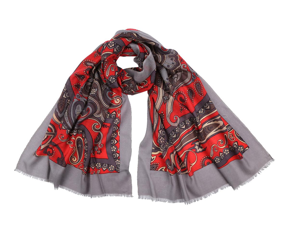 Шарф женский Fabretti, цвет: серый, красный. YNNT01212-26. Размер 70 см х 188 смYNNT01212-26Элегантный шарф от Fabretti поможет внести живость в любой образ, подарит уют и согреет от холодного ветра. Модель изготовлена из мерсеризованной шерсти, благодаря чему полотно шарфа тонкое и теплое. Шарф украшен красивым этническим узором. Края модели декорированы бахромой.Этот модный аксессуар женского гардероба гармонично дополнит образ современной женщины, следящей за своим имиджем и стремящейся всегда оставаться стильной и элегантной.