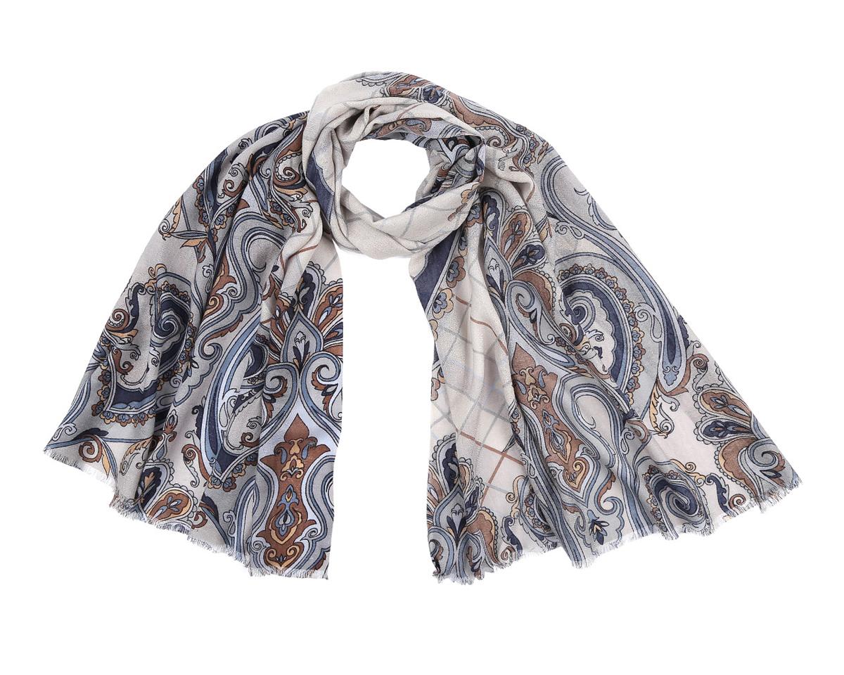 Шарф женский Leo Ventoni, цвет: синий, бежевый, коричневый. YNNT0204-7. Размер 70 см х 188YNNT0204-7Элегантный шарф от Leo Ventoni поможет внести живость в любой образ, подарит уют и согреет от холодного ветра. Модель изготовлена из мерсеризованной шерсти, благодаря чему полотно шарфа тонкое и теплое. Шарф украшен красивым этническим узором. Края модели оформлены бахромой.Этот модный аксессуар женского гардероба гармонично дополнит образ современной женщины, следящей за своим имиджем и стремящейся всегда оставаться стильной и элегантной.