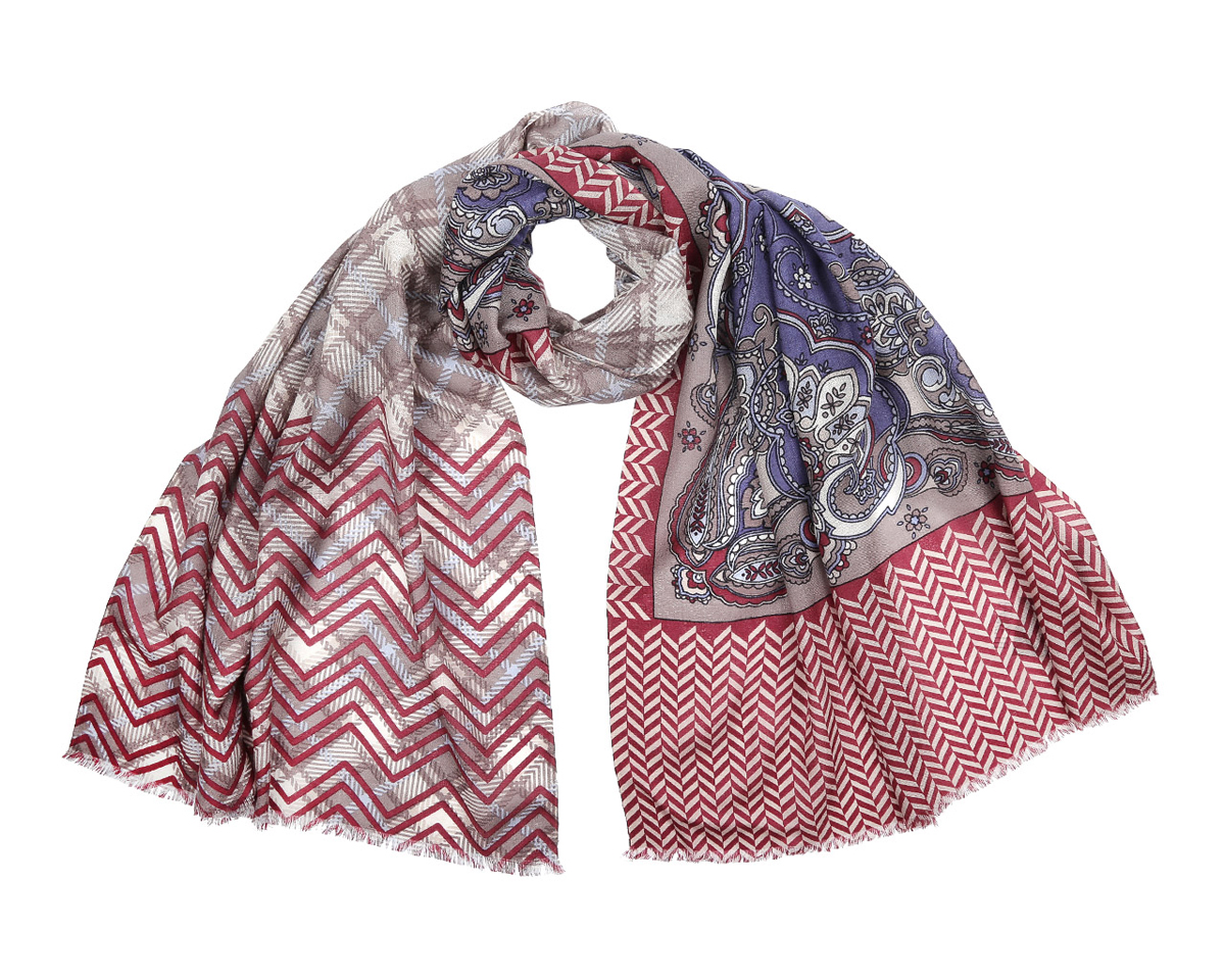 Шарф женский Fabretti, цвет: бордовый, бежевый, синий. YNNT0213-32. Размер 188 см х 70 смYNNT0213-32Модный женский шарф Fabretti подарит вам уют и станет стильным аксессуаром, который призван подчеркнуть вашу индивидуальность и женственность. Шарф выполнен из 100% мерсеризованной шерсти, оформлен красочным этническим узором в индийском стиле, а также дополнен тонкой бахромой по краям.Этот модный аксессуар гармонично дополнит образ современной женщины, следящей за своим имиджем и стремящейся всегда оставаться стильной и элегантной. Такой шарф украсит любой наряд и согреет вас в непогоду, с ним вы всегда будете выглядеть изысканно и оригинально.