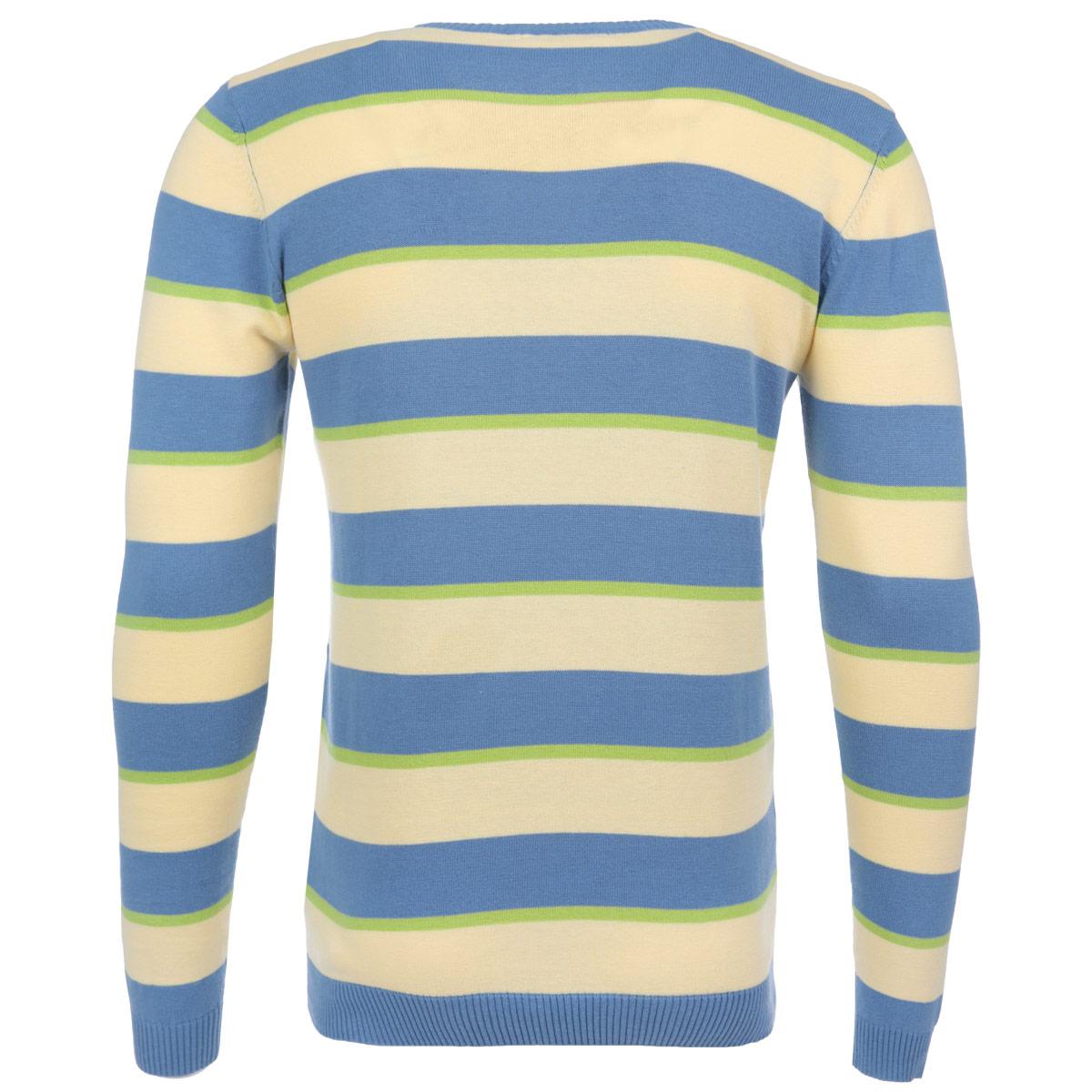 Джемпер мужской F5, цвет: голубой, зеленый, светло-желтый. 04478. Размер L (50)04478Стильный мужской джемпер F5, изготовленный из высококачественной пряжи, мягкий и приятный на ощупь, не сковывает движений и обеспечивает наибольший комфорт.Модель мелкой вязки с круглым вырезом горловины и длинными рукавами великолепно подойдет для создания образа в стиле Casual. Манжеты рукавов, вырез горловины и низ изделия дополнены эластичными резинками. Джемпер оформлен яркими контрастными полосками. Этот джемпер послужит отличным дополнением к вашему гардеробу. В нем вы всегда будете чувствовать себя уютно и комфортно в прохладную погоду.