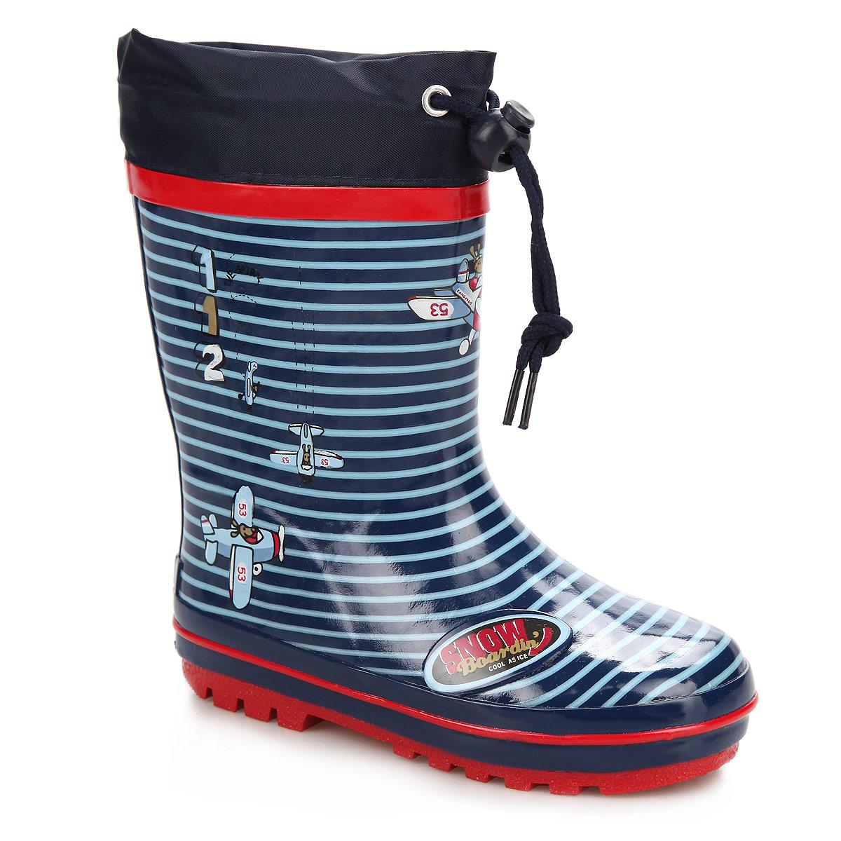 Сапоги резиновые для мальчика Flamingo, цвет: темно-синий, красный. W5511. Размер 28W5511Утепленные резиновые сапожки Flamingo - идеальная обувь в дождливую погоду. Сапоги выполнены из качественной резины, оформлены рисунками в виде самолетиков и логотипом бренда. Подкладка из шерсти, подарит ощущение комфорта вашему малышу. Текстильный верх голенища регулируется в объеме за счет шнурка с бегунком. Резиновые сапожки прекрасно защитят ножки вашего ребенка от промокания в дождливый день.