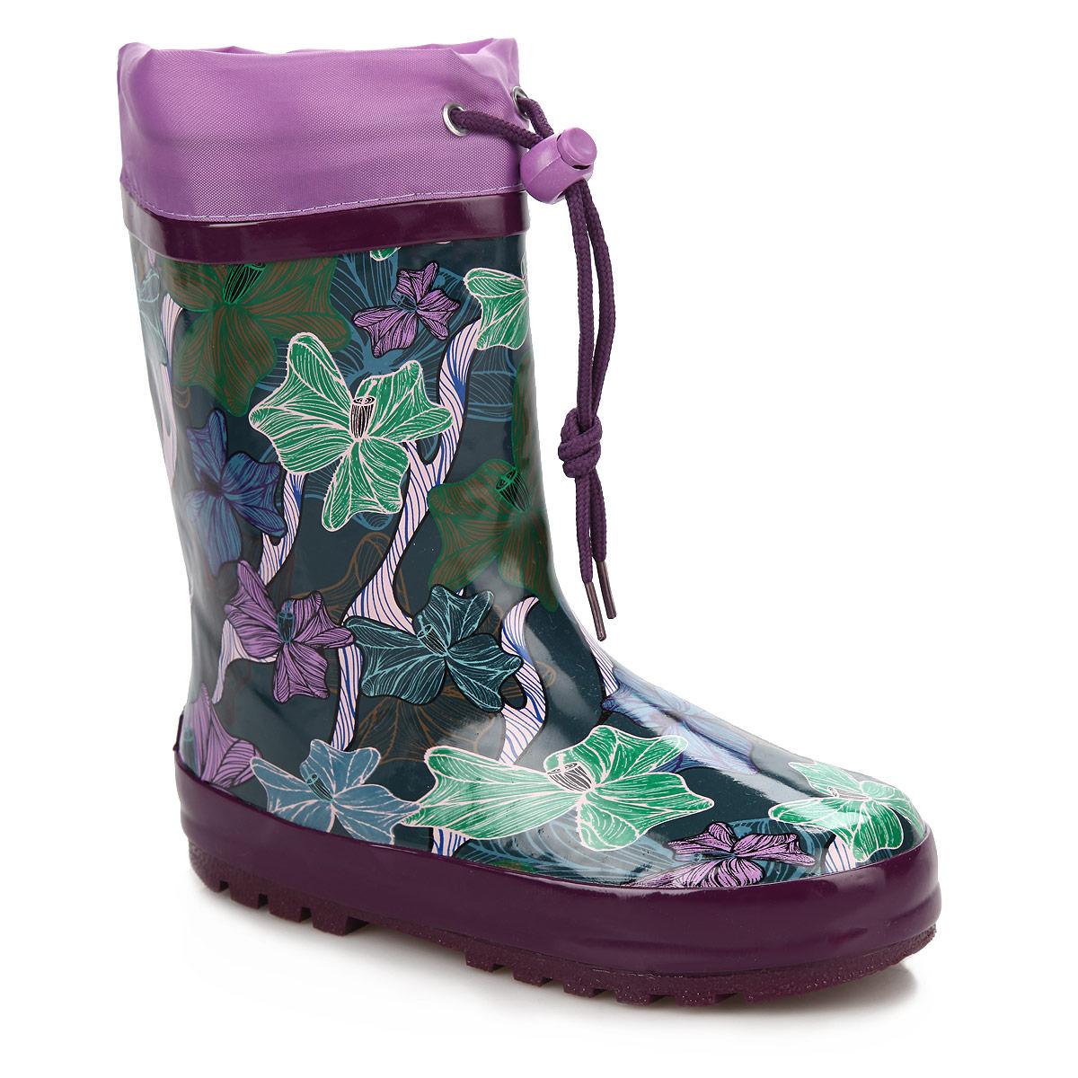 Сапоги резиновые для девочки Flamingo, цвет: фиолетовый, мультицвет. W5541. Размер 30W5541Утепленные резиновые сапожки Flamingo - идеальная обувь в дождливую погоду. Сапоги выполнены из качественной резины, оформлены цветочным рисунком и логотипом бренда. Подкладка из шерсти, подарит ощущение комфорта вашему малышу. Текстильный верх голенища регулируется в объеме за счет шнурка с бегунком. Резиновые сапожки прекрасно защитят ножки вашего ребенка от промокания в дождливый день.