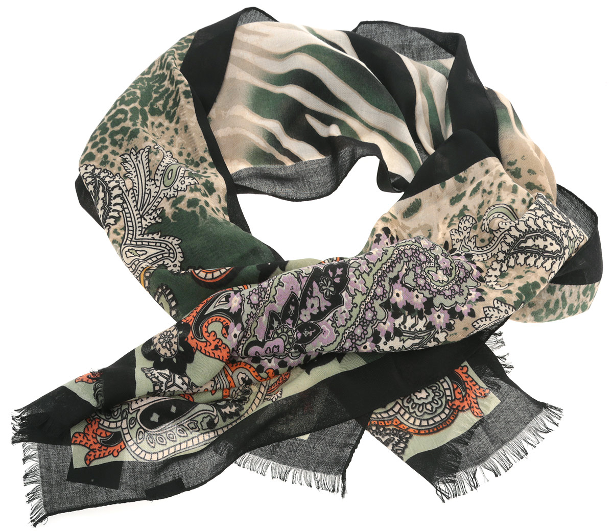 Шарф женский Fabretti, цвет: зеленый, черный, желтый. YGW028-1. Размер 70 см х 180 смYGW028-1Потрясающий женский шарф Fabretti выполнен из шерсти в сочетании с вискозой и украшен актуальным узором пейсли. Края модели оформлены коротенькой бахромой.Великолепный женский шарф Fabretti станет вашим верным спутником, а окружающие обязательно будут обращать свое восторженное внимание на вас.