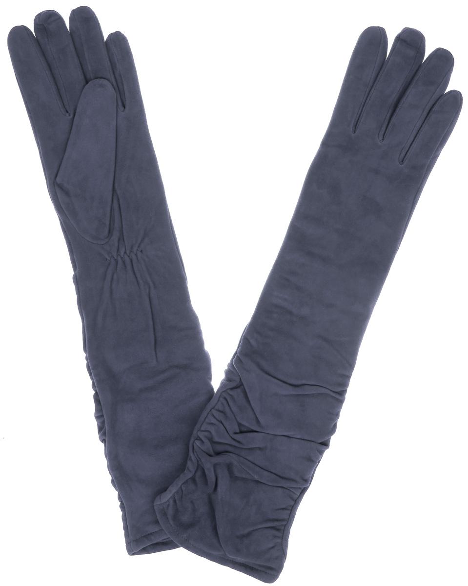 Перчатки женские Eleganzza, цвет: серо-сиреневый. IS02010. Размер 6IS02010Элегантные удлиненные женские перчатки Eleganzza станут великолепным дополнением вашего образа и защитят ваши руки от холода и ветра во время прогулок.Перчатки выполнены из натурального нежного велюра и имеют подкладку из шерсти с добавлением акрила, что позволяет им надежно сохранять тепло и обеспечивает высокую гигроскопичность. Перчатки дополнены сборками на запястьях. Удлиненные манжеты подчеркнут изящество ваших рук. Такие перчатки будут оригинальным завершающим штрихом в создании современного модного образа, они подчеркнут ваш изысканный вкус и станут незаменимым и практичным аксессуаром.