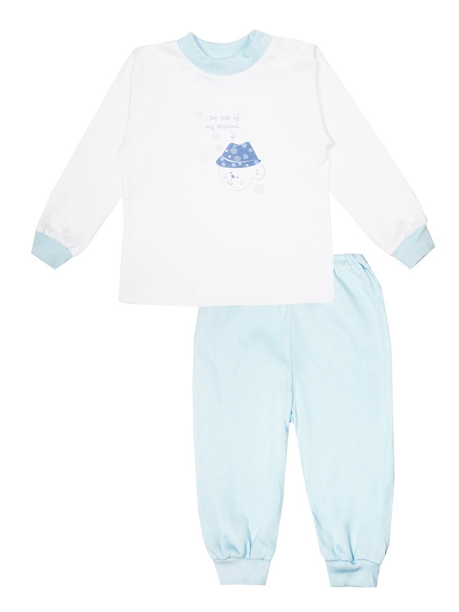 Пижама детская КотМарКот Мишка в шляпе, цвет: белый, голубой. 3275. Размер 92, 2 года3275Детская пижама КотМарКот Мишка в шляпе, состоящая из футболки с длинным рукавом и брюк, идеально подойдет вашему ребенку и станет отличным дополнением к его гардеробу. Выполненная из натурального хлопка, она необычайно мягкая и легкая, не сковывает движения, позволяет коже дышать и не раздражает даже самую нежную и чувствительную кожу ребенка. Футболка с длинными рукавами и круглым вырезом горловины имеет застежки-кнопки по плечевому шву, что помогает с легкостью переодеть ребенка. Вырез горловины и манжеты на рукавах дополнены трикотажными эластичными резинками. Модель оформлена нежным принтом с изображением медвежонка, а также надписью.Брюки прямого кроя на талии имеют эластичную резинку, благодаря чему они не сдавливают животик ребенка и не сползают. Низ брючин дополнен широкими трикотажными манжетами. В такой пижаме ваш ребенок будет чувствовать себя комфортно и уютно во время сна.