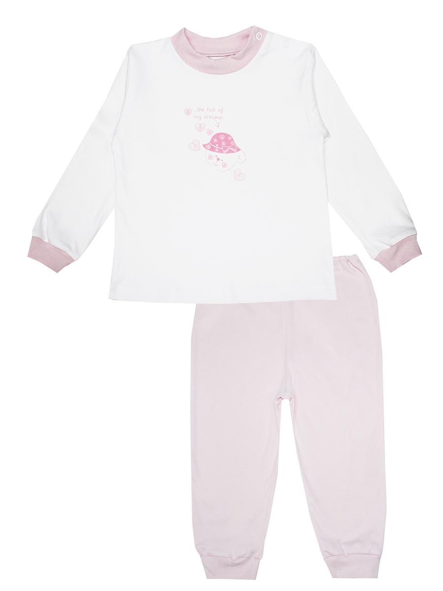 Пижама детская КотМарКот Мишка в шляпе, цвет: белый, розовый. 3274. Размер 86, 1 год3274Детская пижама КотМарКот Мишка в шляпе, состоящая из футболки с длинным рукавом и брюк, идеально подойдет вашему ребенку и станет отличным дополнением к его гардеробу. Выполненная из натурального хлопка, она необычайно мягкая и легкая, не сковывает движения, позволяет коже дышать и не раздражает даже самую нежную и чувствительную кожу ребенка. Футболка с длинными рукавами и круглым вырезом горловины имеет застежки-кнопки по плечевому шву, что помогает с легкостью переодеть ребенка. Вырез горловины и манжеты на рукавах дополнены трикотажными эластичными резинками. Модель оформлена нежным принтом с изображением медвежонка, а также надписью.Брюки прямого кроя на талии имеют эластичную резинку, благодаря чему они не сдавливают животик ребенка и не сползают. Низ брючин дополнен широкими трикотажными манжетами. В такой пижаме ваш ребенок будет чувствовать себя комфортно и уютно во время сна.