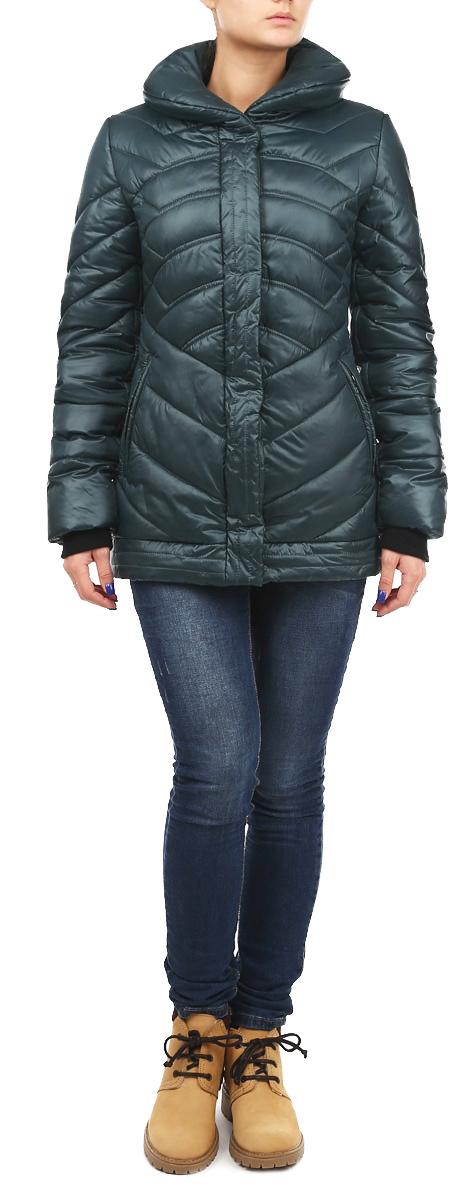 Куртка женская Grishko, цвет: темно-зеленый. AL-2635. Размер 42AL-2635Теплая женская куртка Grishko с эффектной декоративной отстрочкой согреет вас в прохладное время года. Модель с длинными рукавами и отложным воротником имеет наполнитель из 100% холлофайбера. Холлофайбер - утеплитель, который отличается повышенной теплоизоляцией, антибактериальными свойствами, долговечностью в использовании, и необычайно легок в носке и уходе.Модель застегивается на застежку-молнию спереди и оснащена ветрозащитным клапаном на кнопках. Куртка дополнена двумя втачными карманами на молниях спереди, рукава оснащены трикотажными манжетами.Эта модная и в то же время комфортная куртка - отличный вариант для прогулок, она подчеркнет ваш изысканный вкус и поможет создать неповторимый образ.