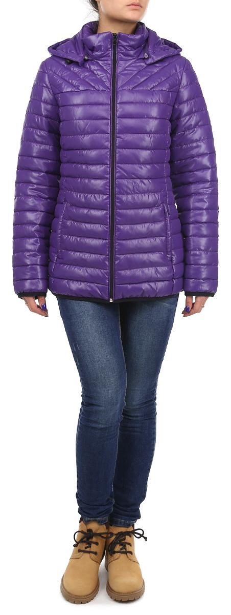 Куртка женская Grishko, цвет: фиолетовый. AL-2633. Размер 44AL-2633Практичная и модная женская куртка Grishko согреет вас в прохладное время года. Модель с длинными рукавами и воротником-стойкой имеет наполнитель из 100% холлофайбера. Холлофайбер - утеплитель, который отличается повышенной теплоизоляцией, антибактериальными свойствами, долговечностью в использовании, и необычайно легок в носке и уходе.Модель застегивается на застежку-молнию спереди и оснащена съемным капюшоном на молнии, объем которого регулируется при помощи шнурка-кулиски. Куртка дополнена двумя втачными карманами на молниях спереди и одним внутренним втачным карманом на молнии.Эта модная и в то же время комфортная куртка - отличный вариант для прогулок, она подчеркнет ваш изысканный вкус и поможет создать неповторимый образ.