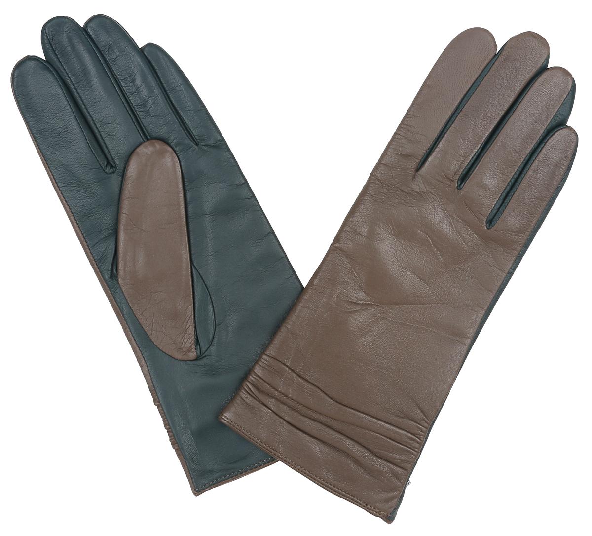 Перчатки женские Labbra, цвет: серо-коричневый, пыльно-зеленый. LB-8338. Размер 8LB-8338Классические женские перчатки Labbra не только защитят ваши руки, но и станутвеликолепным украшением. Перчатки выполнены из чрезвычайно мягкой иприятной на ощупь натуральной кожи ягненка, а их подкладка - из натуральнойшерсти с добавлением акрила.Отделка - комбинирование контрастных цветов кожи. Модель декорирована сборкой по всей длине манжеты.В настоящее время перчатки являются неотъемлемой принадлежностью одежды, вместе с этим аксессуаром вы обретаете женственность и элегантность. Перчатки станут завершающим и подчеркивающим элементом вашего стиля и неповторимости.