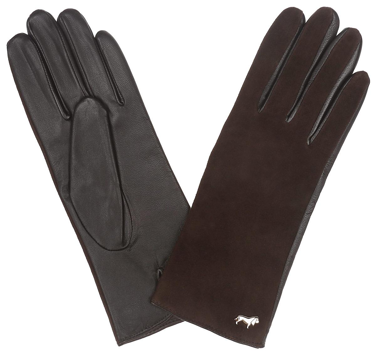 Перчатки женские Labbra, цвет: темно-коричневый. LB-4707. Размер 7LB-4707Классические женские перчатки Labbra не только защитят ваши руки, но и станутвеликолепным украшением. Тыльная сторона перчаток выполнена иззамши, а на ладошках- из чрезвычайно мягкой и приятной на ощупьнатуральной кожи ягненка, а их подкладка - из натуральной шерсти с добавлениемакрила.Внешняя сторона оформлена фирменным логотипом в виде собачки. Качественная отделка кожи ягненка делает эту модель нетолько красивой, но и долговечной.В настоящее время перчатки являютсянеотъемлемой принадлежностью одежды, вместе с этим аксессуаром выобретаете женственность и элегантность. Перчатки станут завершающим иподчеркивающим элементом вашего стиля и неповторимости.
