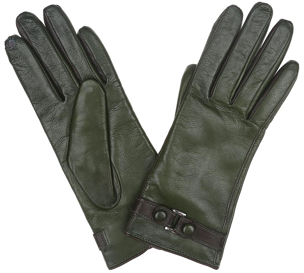 Перчатки женские Eleganzza, цвет: темно-зеленый. TOUCH IS02074. Размер 6,5TOUCH IS02074Новая модель элегантных перчаток от Eleganzza создана специально для работы с сенсорными экранами. Благодаря наличию на пальцах особой металлизированной нити любыми современными устройствами можно пользоваться, не снимая перчаток. Перчатки выполнены из необыкновенно мягкой иприятной на ощупь натуральной кожи контрастных цветов, а их подкладка - из натуральной шерсти с добавлением кашемира. Лицевая сторона оформлена декоративным ремешком. Тыльная сторона дополнена аккуратным разрезом.Руки в тепле, а вы на связи.