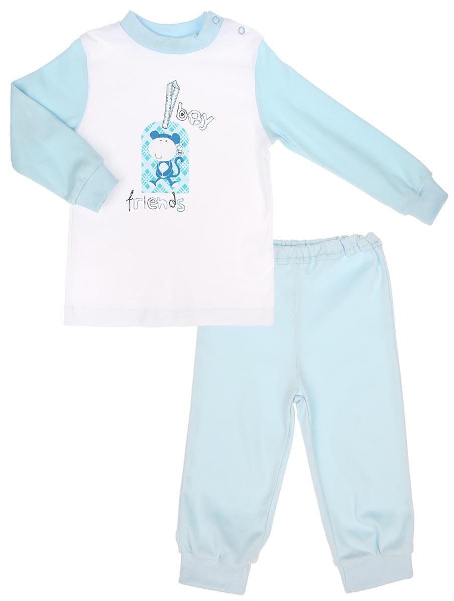 Пижама для мальчика КотМарКот Обезьянка, цвет: белый, голубой. 3255. Размер 104, 4 года3255_ОбезьянкаДетская пижама КотМарКот Обезьянка, состоящая из футболки с длинным рукавом и брюк, идеально подойдет вашему ребенку. Выполненная из натурального хлопка, она необычайно мягкая и легкая, не сковывает движения, позволяет коже дышать и не раздражает даже самую нежную и чувствительную кожу ребенка. Футболка с длинными рукавами и круглым вырезом горловины имеет застежки-кнопки по плечевому шву, что помогает с легкостью переодеть ребенка. Вырез горловины и манжеты на рукавах дополнены трикотажными эластичными резинками. Модель оформлена принтом с изображением обезьянки, а также надписью.Брюки прямого кроя на талии имеют эластичную резинку, благодаря чему они не сдавливают животик ребенка и не сползают. Низ брючин дополнен широкими трикотажными манжетами. Пижама станет отличным дополнением к детскому гардеробу. В такой пижаме ваш ребенок будет чувствовать себя комфортно и уютно во время сна.