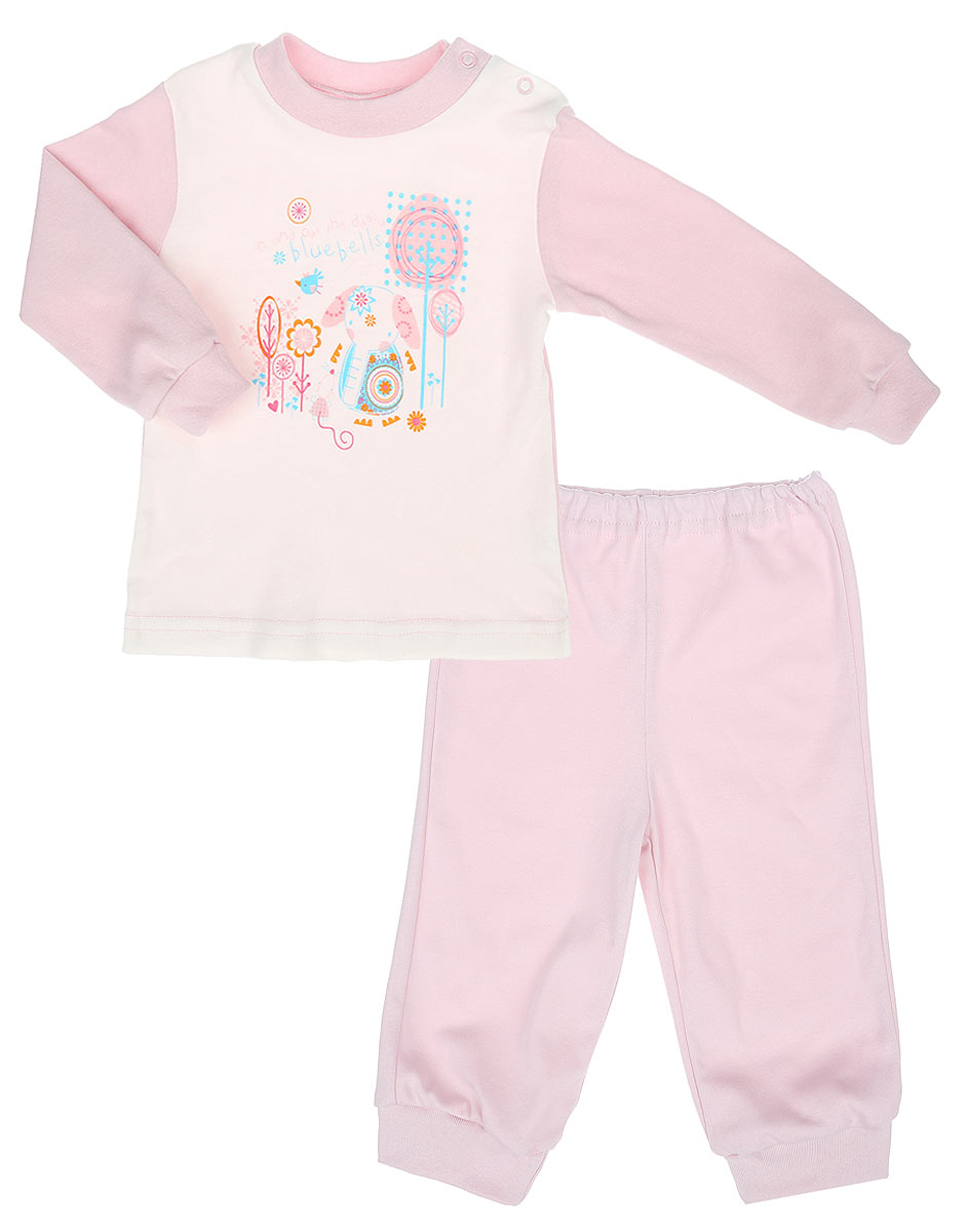 Пижама для девочки КотМарКот Слоник, цвет: молочный, розовый. 3257. Размер 80, 9-12 месяцев3257Детская пижама КотМарКот Слоник, состоящая из футболки с длинным рукавом и брюк, идеально подойдет вашему ребенку. Выполненная из натурального хлопка, она необычайно мягкая и легкая, не сковывает движения, позволяет коже дышать и не раздражает даже самую нежную и чувствительную кожу ребенка. Футболка с длинными рукавами и круглым вырезом горловины имеет застежки-кнопки по плечевому шву, что помогает с легкостью переодеть ребенка. Вырез горловины и манжеты на рукавах дополнены трикотажными эластичными резинками. Модель оформлена принтом с изображением слоника, а также надписью.Брюки прямого кроя на талии имеют эластичную резинку, благодаря чему они не сдавливают животик ребенка и не сползают. Низ брючин дополнен широкими трикотажными манжетами. Пижама станет отличным дополнением к детскому гардеробу. В ней ваш ребенок будет чувствовать себя комфортно и уютно во время сна.