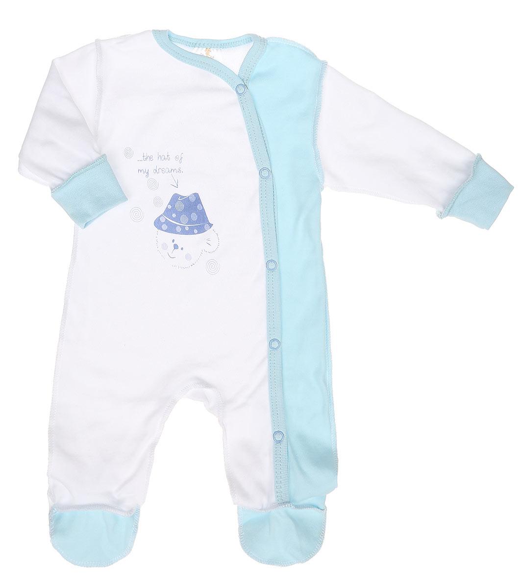 Комбинезон детский КотМарКот Мишка в шляпе, цвет: белый, голубой. 3674. Размер 56, 0-1 месяц3674Удобный комбинезон КотМарКот Мишка в шляпе идеально подойдет вашему младенцу, обеспечивая ему максимальный комфорт. Изготовленный из интерлока - натурального хлопка, он очень мягкий на ощупь, не раздражает даже самую нежную и чувствительную кожу ребенка.Комбинезон с длинными рукавами, V-образным вырезом горловины и закрытыми ножками имеет застежки-кнопки от горловины до щиколотки, которые помогают легко переодеть младенца или сменить подгузник. Низ рукавов дополнен широкими трикотажными манжетами. Спереди он оформлен принтом с изображением медвежонка, а также принтовой надписью на английском языке. С комбинезоном спинка и ножки вашего крохи всегда будут в тепле.Современный дизайн и модная расцветка делают этот комбинезон незаменимым предметом детского гардероба. В нем ваш ребенок всегда будет в центре внимания! УВАЖАЕМЫЕ КЛИЕНТЫ! Обращаем ваше внимание на тот факт, что для самых маленьких размеров швы изделия выполнены наружу.