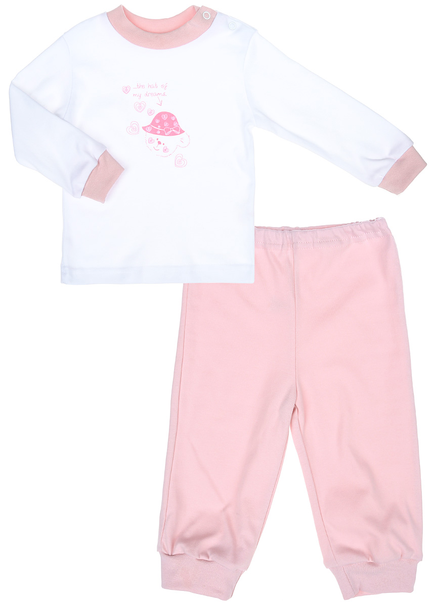 Пижама детская КотМарКот Мишка в шляпе, цвет: белый, розовый. 3275. Размер 80, 9-12 месяцев3275Детская пижама КотМарКот Мишка в шляпе, состоящая из футболки с длинным рукавом и брюк, идеально подойдет вашему ребенку и станет отличным дополнением к его гардеробу. Выполненная из натурального хлопка, она необычайно мягкая и легкая, не сковывает движения, позволяет коже дышать и не раздражает даже самую нежную и чувствительную кожу ребенка. Футболка с длинными рукавами и круглым вырезом горловины имеет застежки-кнопки по плечевому шву, что помогает с легкостью переодеть ребенка. Вырез горловины и манжеты на рукавах дополнены трикотажными эластичными резинками. Модель оформлена нежным принтом с изображением медвежонка, а также надписью.Брюки прямого кроя на талии имеют эластичную резинку, благодаря чему они не сдавливают животик ребенка и не сползают. Низ брючин дополнен широкими трикотажными манжетами. В такой пижаме ваш ребенок будет чувствовать себя комфортно и уютно во время сна.