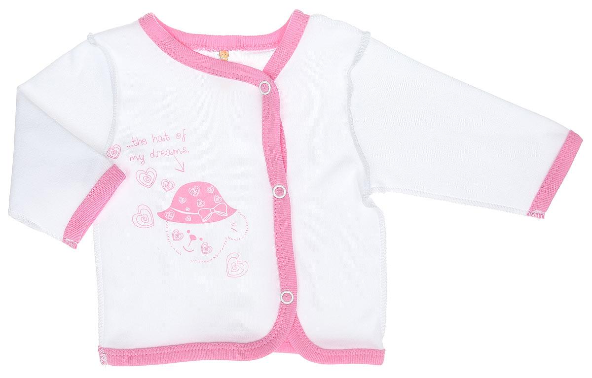 Кофточка детская КотМарКот Мишка в шляпе, цвет: белый, розовый. 3775. Размер 86, 12 месяцев3775Кофточка КотМарКот Мишка в шляпе послужит идеальным дополнением к гардеробу вашего ребенка. Кофточка с длинными рукавами и V-образным вырезом горловины изготовлена из натурального хлопка - интерлока, благодаря чему она необычайно мягкая и легкая, не раздражает нежную кожу ребенка и хорошо вентилируется, а эластичные швы приятны телу младенца и не препятствуют его движениям. Удобные застежки-кнопки по всей длине помогают легко переодеть ребенка. Спереди изделие оформлено принтом с изображением медвежонка, а также принтовой надписью на английском языке. Кофточка полностью соответствует особенностям жизни ребенка в ранний период, не стесняя и не ограничивая его в движениях. В ней ваш младенец всегда будет в центре внимания.
