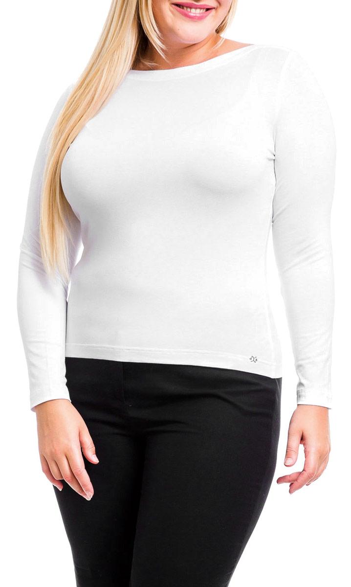 Лонгслив женский Mondigo, цвет: белый. 21405. Размер 4821405Прекрасный однотонный женский лонгслив Mondigo с длинными рукавами и вырезом горловины лодочка. Модель облегающего кроя выполнена из высококачественной вискозы с добавлением эластана. Лицевая сторона дополнена металлическим логотипом бренда. Швы модели выполнены частыми стежками, благодаря этой обработке швы очень прочные и не подвергаются деформированию. Лонгслив Mondigo - классика в новом исполнении