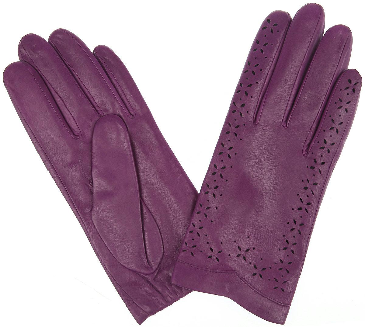 Перчатки женские Fabretti, цвет: бордовый. 4.8-8s emillion. Размер 6,54.8-8s emillionСтильные перчатки Fabretti с шелковой подкладкой выполнены из мягкой и приятной на ощупь натуральной кожи ягненка и оформлены декоративной перфорацией. Тыльная сторона манжета оснащена резинкой для оптимальной посадки модели на руке. Перчатки станут достойным элементом вашего стиля и сохранят тепло ваших рук.