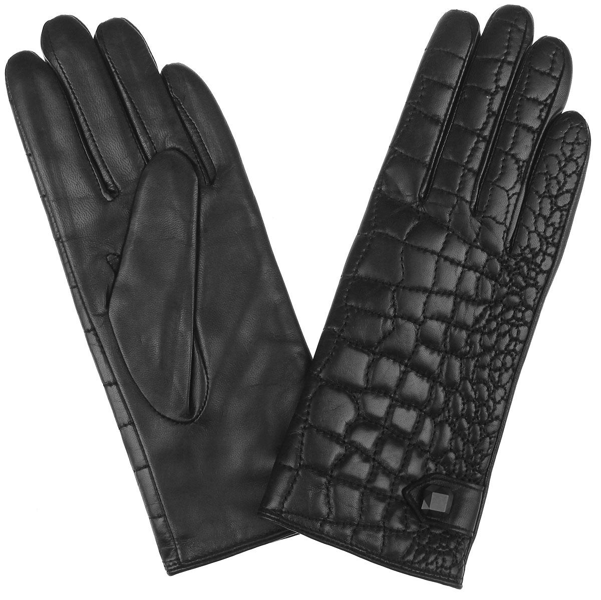 Перчатки женские Fabretti, цвет: черный. 9.82-1 black. Размер 6,59.82-1 blackПотрясающие женские перчатки Fabretti с подкладкой из шерсти и кашемиравыполнены из мягкой и приятной на ощупь эфиопской перчаточной кожи. Лицеваясторона оформлена отстрочкой под кожу рептилии, а также хлястиком соригинальной фурнитурой.Создайте эффектный образ и подчеркните свою яркую индивидуальность новымаксессуаром!