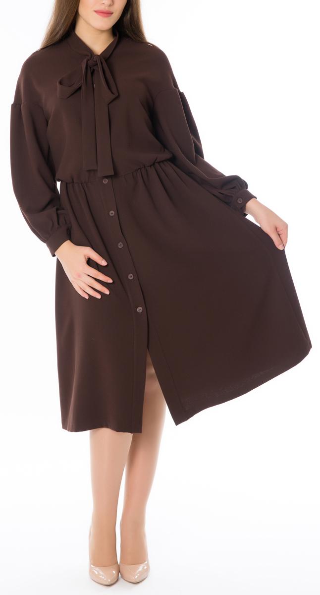Платье Lautus, цвет: шоколадный. 665. Размер 52665Стильное женское платье Lautus, выполненное из высококачественных материалов, идеально впишется в ваш гардероб. Модель с изящным воротником и длинными рукавами застегивается на пуговицы по всей длине. Оригинальный крой изделия подчеркнет достоинства вашей фигуры.. Манжеты рукавов модели дополнены клястиками на пуговицах. Это яркое платье с оригинальным принтом станет отличным дополнением к вашему гардеробу.