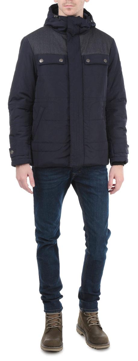 Куртка мужская Grishko, цвет: темно-синий. AL-2657. Размер 46AL-2657Стильная мужская куртка Grishko с текстильными вставками, выполненная из высококачественных материалов, обеспечит максимальный комфорт при различных погодных условиях. Изделие с несъемным капюшоном и длинными рукавамизастегивается на пластиковую застежку-молнию и дополнительно ветрозащитной планкой на металлические кнопки. Спереди модель дополнена четырьмя прорезными карманами на кнопках. На внутренней стороне модель дополнена одним втачным и одним нашивным карманом на кнопке. Горловина и рукава изделия дополнены текстильными резинками. Капюшон дополнен внутренней эластичной резинкой на стопперах. На манжетах имеются хлястика на кнопках.Эта стильная куртка послужит отличным дополнением к вашему гардеробу!