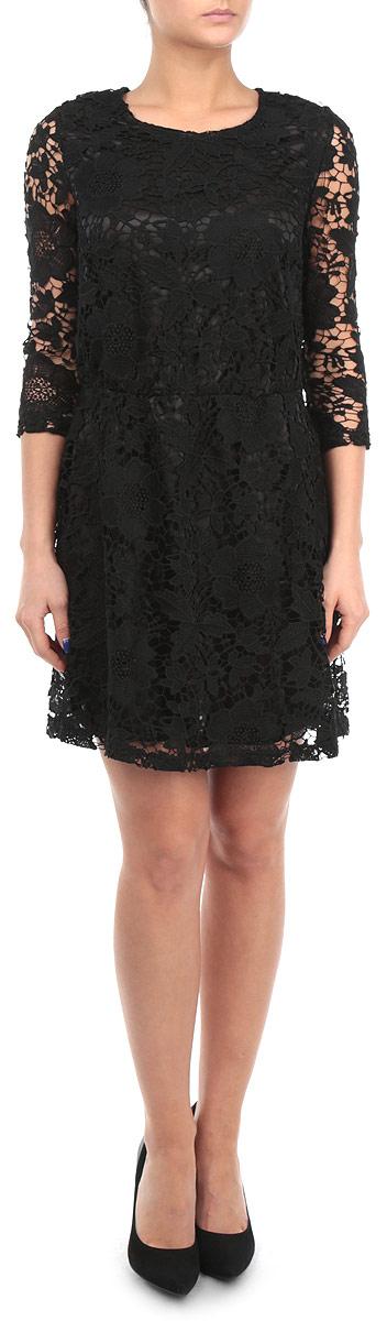 Платье Broadway, цвет: черный. 10153772 999. Размер L (48)10153772 999Изящное платье Broadway никого не оставит равнодушным. Приталенный силуэт и рукав 3/4 позволят подчеркнуть все достоинства вашей фигуры. Модель оформлена кружевом по всей длине изделия, застегивается на застежку-молнию на спинке. Подкладка - из полиэстера. Зона талии оснащена эластичной резинкой.В этом платье вы всегда будете в центре внимания!