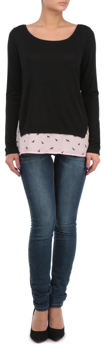 Пуловер женский Tally Weijl, цвет: черный, бледно-розовый. SPUACTWIN HH/BLK001. Размер S (44)SPUACTWIN HH/BLK001Стильный женский пуловер Tally Weijl, изготовленный из мягкой вискозы с добавлением полиэстера и эластана, не сковываетдвижения, обеспечивая наибольший комфорт. Модель с круглым вырезом горловины и длинными рукавами. По нижнему краю пуловер дополнен широкой оборкой, выполненной из полупрозрачного материала контрастного цвета с принтом. Этот модный пуловер послужит отличным дополнением к вашему гардеробу, он станет главной составляющейвашего стиля. В нем вы всегда будете чувствовать себя уютно и комфортно.
