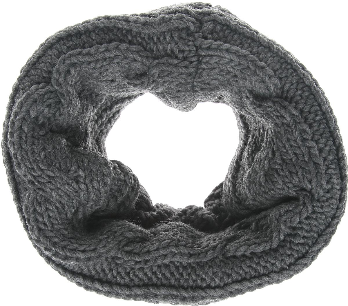 Снуд женский Broadway, цвет: серый. 40100769 826. Размер универсальный40100769 826Уютный шарф-снуд Broadway - отличная модель для холодной погоды, он подчеркнет вашу оригинальность и неповторимый вкус. Он превосходно дополнит любой наряд и согреет вас в прохладное время года.Снуд выполнен из акриловой пряжи с добавлением шерсти. Внутренняя сторона снуда отделана невероятно мягким искусственным мехом. Снуд оформлен широкими вязаными косичками. Снуд - это объемный шарф, связанный по кругу. Этот модный аксессуар гармонично дополнит образ современной женщины, следящей за своим имиджем и стремящейся всегда оставаться стильной и элегантной.
