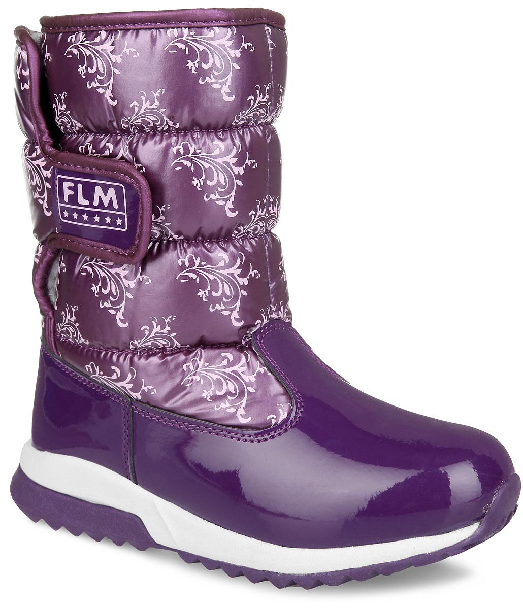 Дутики для девочки Flamingo, цвет: фиолетовый, розовый. 52-NC409. Размер 3452-NC409Стильные дутики для девочки от Flamingo, изготовленные из современных материалов, обеспечат удобство и комфорт ножкам вашей малышки в прохладную погоду. Модель в нижней части изготовлена из искусственной лаковой кожи, а голенище - из высококачественного нейлона, оформленного узорами контрастного цвета. Подкладка и стелька, выполненные из комбинации шерсти и искусственного меха, согреют ножки ребенка в холод. Удобная застежка-липучка сбоку на голенище, украшенная вставкой из лаковой кожи, обеспечивает практичность и комфортную фиксацию модели на ноге. Задник оформлен тиснением в виде логотипа бренда. Уплотненная вставка на мысе защищает детскую стопу от ударов при ходьбе. Подошва с рифленым протектором обеспечивает удобство и практичность на каждый день. В таких дутиках ножкам вашего ребенка всегда будет комфортно, уютно и тепло!