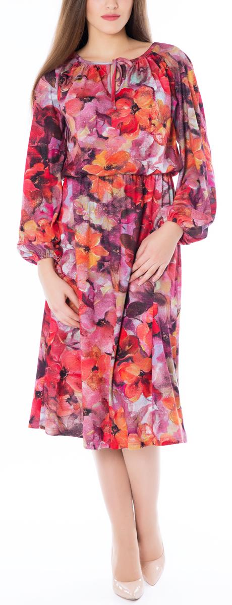 Платье Lautus, цвет: красный, мультиколор. 669. Размер 52669Эффектное платье-миди в романтическом стиле Lautus идеально впишется в ваш гардероб.Модель приталенного силуэта с круглым вырезом горловины и длинным рукавами-реглан, изготовлена из высококачественного трикотажа. Горловина модели оформлена кантом и дополнена вырезом-капелькой с завязками. Свободные рукава-реглан пышно присобраны у запястий на резинку. Линия талии подчеркнута внутренней резинкой.Красочный принт и обилие сборок создают легкий, жизнерадостный образ. Платье поможет вам превратить будни в праздники, а праздники сделать еще ярче.