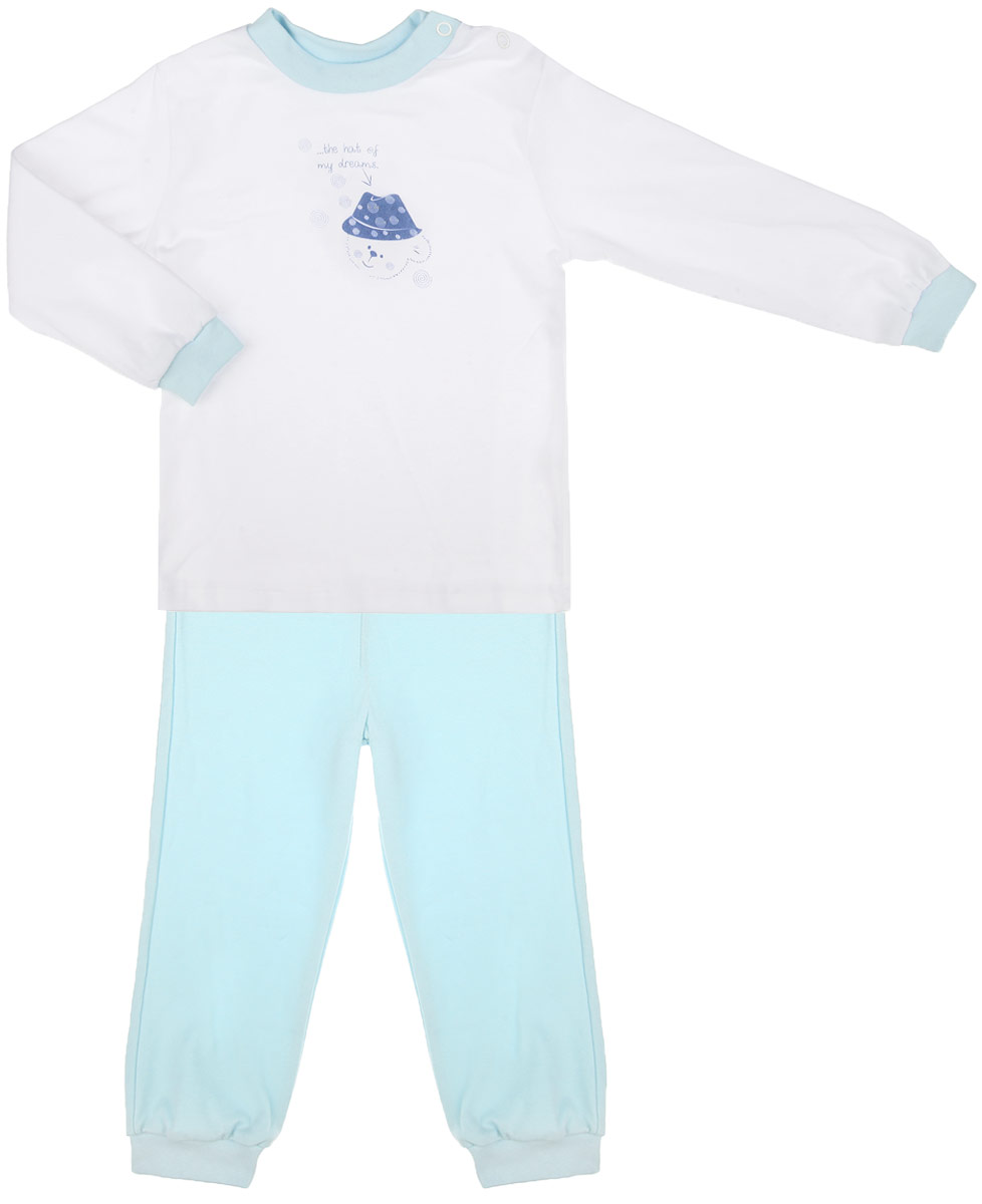 Пижама детская КотМарКот Мишка в шляпе, цвет: белый, голубой. 3274. Размер 80, 9-12 месяцев3274Детская пижама КотМарКот Мишка в шляпе, состоящая из футболки с длинным рукавом и брюк, идеально подойдет вашему ребенку и станет отличным дополнением к его гардеробу. Выполненная из натурального хлопка, она необычайно мягкая и легкая, не сковывает движения, позволяет коже дышать и не раздражает даже самую нежную и чувствительную кожу ребенка. Футболка с длинными рукавами и круглым вырезом горловины имеет застежки-кнопки по плечевому шву, что помогает с легкостью переодеть ребенка. Вырез горловины и манжеты на рукавах дополнены трикотажными эластичными резинками. Модель оформлена нежным принтом с изображением медвежонка, а также надписью.Брюки прямого кроя на талии имеют эластичную резинку, благодаря чему они не сдавливают животик ребенка и не сползают. Низ брючин дополнен широкими трикотажными манжетами. В такой пижаме ваш ребенок будет чувствовать себя комфортно и уютно во время сна.