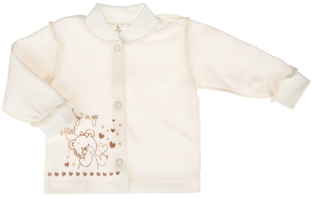 Кофточка детская КотМарКот Мишка, цвет: молочный, экрю. 3787. Размер 80, 9-12 месяцев3787Кофточка КотМарКот Мишка послужит идеальным дополнением к гардеробу вашего ребенка, обеспечивая ему наибольший комфорт. Кофточка с круглым вырезом горловины и длинными рукавами, выполненная швами наружу, изготовлена из натурального хлопка - интерлока, благодаря чему она необычайно мягкая и легкая, не раздражает нежную кожу ребенка и хорошо вентилируется, а эластичные швы приятны телу младенца и не препятствуют его движениям. Удобные застежки-кнопки по всей длине помогают легко переодеть ребенка. Рукава понизу дополнены широкими трикотажными манжетами, мягко обхватывающими запястья, а горловина - небольшим трикотажным воротничком. Модель оформлена принтом с изображением медвежонка. Кофточка полностью соответствует особенностям жизни ребенка в ранний период, не стесняя и не ограничивая его в движениях. В ней ваш младенец всегда будет в центре внимания. УВАЖАЕМЫЕ КЛИЕНТЫ! Обращаем ваше внимание на тот факт, что для самых маленьких размеров швы изделия выполнены наружу.