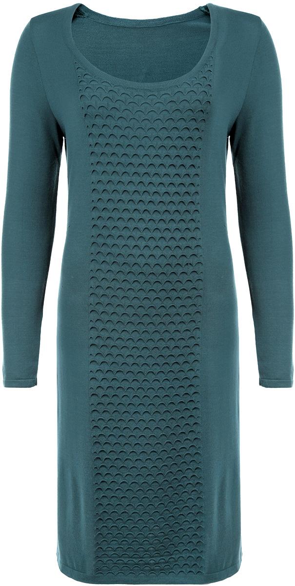 Платье Milana Style, цвет: зеленый. 881. Размер 46881Элегантное платье Milana Style, выполненное из высококачественных материалов, идеально впишется в ваш гардероб. Модель прямого кроя с круглым воротником и длинными рукавами прекрасно подчеркнет достоинства вашей фигуры. Манжеты и низ изделия окантованы мелкой резинкой, что предотвращает деформацию при носке. Это стильное платье станет отличным дополнением к вашему гардеробу.