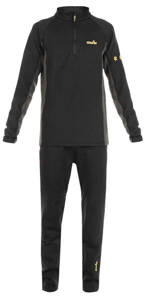 Комплект термобелья мужской Norfin Creeck: кофта, брюки, цвет: черный, серо-зеленый. 3031002. Размер XXXL (64/66)303100Эластичный материал термобелья, изготовлен из материала Norfleece Stretch, который хорошо прилегает к телу и не ограничивает свободу движений. Особенная характеристика - эластичная ткань, растягиваемая в 4-х направлениях, разработанная для максимального комфорта. У волокна специально разработанная, двухслойная структура. Стороны ткани имеют различные поверхности. Внутренняя поверхность, нежная и бархатистая, быстро отводит влагу от кожи, мгновенно оставляя тело сухим и контролируя температуру между одеждой и вашим телом. Прочный верхний слой обеспечивает быстрое высыхание. Термобелье используется как первый слой одежды, оно надевается на голое тело или на тонкое термобелье. Горловина с воротником-стойкой оснащена надежной застежкой молнией с защитой подбородка. Манжеты кофты имеют отверстия для большого пальца. Брюки дополнены эластичной резинкой на поясе. Комплект оформлен логотипами бренда. Комплект термобелья Norfin идеально подойдет для прогулок и занятий спортом в холодные дни!