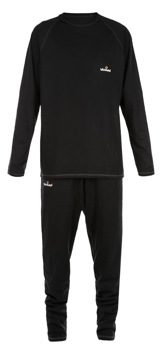 Комплект термобелья мужской Woodland Ultra Wool Thermo: футболка с длинным рукавом, брюки, цвет: черный. 52601. Размер M (46/48)Ultra Wool ThermoКомплект мужского термобелья Woodland Ultra Wool Thermo, состоящий из футболки с длинным рукавом и брюк, идеально подойдет для вас в холодную погоду. Изготовленный из двухслойной ткани, он легкий, мягкий и приятный на ощупь. Внутренний слой из функционального синтетического волокна - полиэстера хорошо отводит влагу от поверхности тела. Внешний слой состоит из шерсти, которая отлично сохраняет тепло, и акрила, который обеспечивает прочность и эластичность изделия, а также успешно испаряет влагу при активных физических нагрузках. Швы модели выполнены с внешней стороны, они мягкие и эластичные, обеспечивают комфорт при длительном ношении. Футболка с длинными рукавами-реглан и круглым вырезом горловины оформлена контрастной прострочкой, а также небольшой термоаппликацией с логотипом бренда на груди. Брюки имеют на поясе широкую эластичную резинку. Модель также оформлена контрастной прострочкой и термоаппликацией.Комплект термобелья станет отличным дополнением к вашему гардеробу. Он может применяться во время занятий спортом, так и при повседневном ношении.Показатели температуры использования: при средней физической активности до -25°C; при высокой физической активности до -30°C.