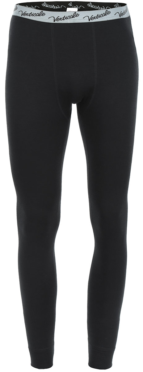 Термобелье кальсоны мужские Verticale Outdoor Pants Felix, цвет: черный. Размер M (46/48)Кальсоны Verticale FELXСерия термобелья Outdoor специально разработана для носки в условиях экстремально низких температур. Красивое и очень комфортное термобелье. Применяется ткань с объемной двухслойной структурой плетения. Отличное сочетание пряжи из натуральной шерсти овец-мериносов и полиэстрового волокна, которое существенно усиливает стойкость шерстяной пряжи к механическому воздействию. Это белье отличает завидная износоустойчивость, к тому же красивый дизайн позволяет носить комплекты как самостоятельные изделия. Модель сочетает в себе свойства отвода влаги термобелья и тепло шерстяной одежды. Снизу брючины дополнены широкими эластичными манжетами. Пояс оснащен резинкой с логотипом бренда. Рекомендуется использовать при малой и средней активности в холодную и очень холодную погоду (зимняя рыбалка, охота, катание на снегоходах).