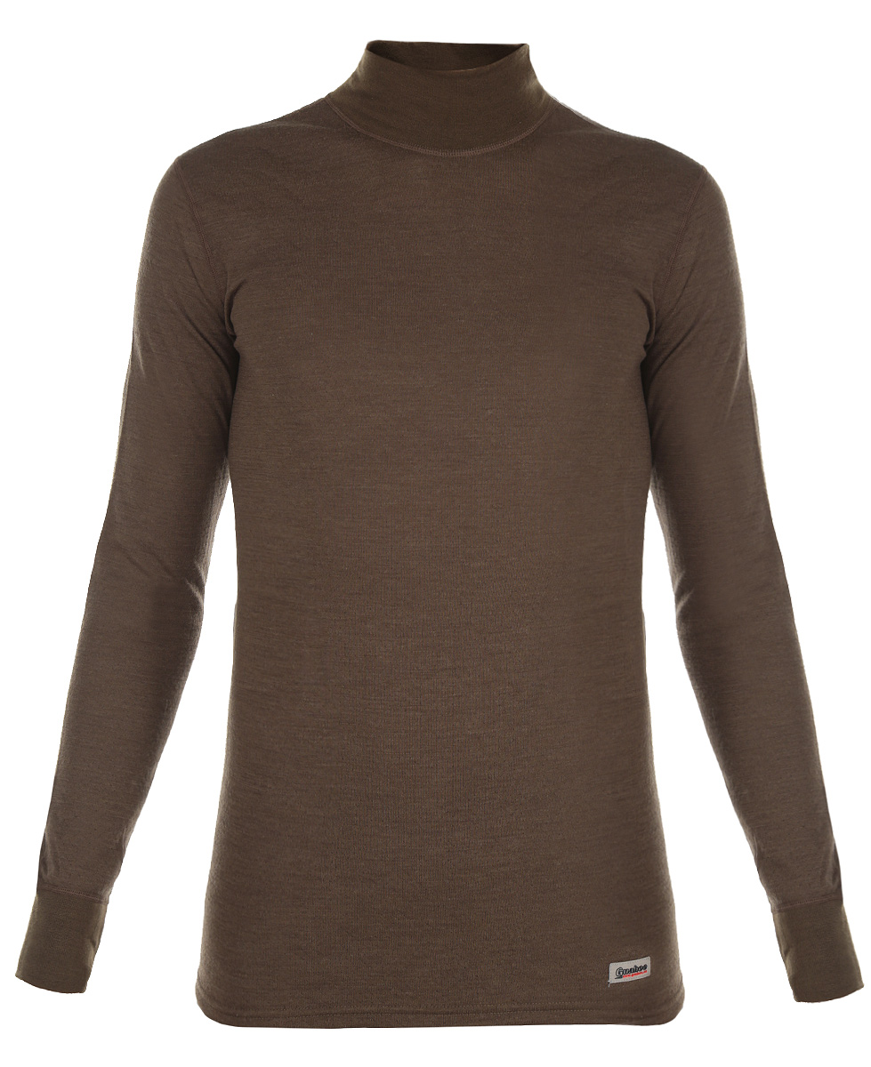 Термобелье кофта мужская Guahoo Outdoor, цвет: болотный. 22-0340-N. Размер M (50)22-0340-NДвухслойная мужская кофта Guahoo Outdoor подходит для активного отдыха повседневной носки в холодную и очень холодную погоду. Верхний слой полотна изготовлен из шерсти овец породы Меринос, которая прекрасно сохраняет тепло, делает ткань мягкой и прочной. Нижний слой из полиэстера отводит влагу от тела, придает прочность изделию, предотвращает усадку и деформацию изделия после стирки и в процессе носки.Кофта с длинными рукавами и воротником-стойкой оформлена небольшой нашивкой с названием бренда. Рукава дополнены широкими трикотажными манжетами.