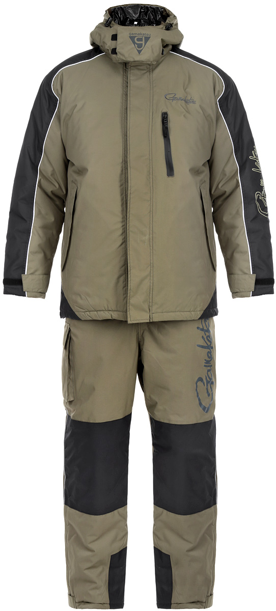 Костюм зимний мужской 3в1 Gamakatsu, цвет: хаки. 0050389. Размер M (44/46)0050389 GAMAKATSU 3 in 1Костюм Gamakatsu, состоящий из верхней куртки, полукомбинезона и куртки-подстежки Ultralight, изготовлен из нейлона таслан. Костюм создан для сурового климата с экстремально низкими температурами. Его можно рекомендовать до -50°С. Температурный режим комфортной носки костюма можно варьировать от -5°С до -50°С, такой разброс достигается за счет съемной куртки Ultralight. Так же эту куртку можно использовать как верхнюю одежду при температуре от +5°С до -5°С. Качество костюма на очень высоком уровне, как вся продукция Gamakatsu.Костюм оснащен светоотражающими элементами, обеспечивая безопасность в темное время суток. Верхняя куртка прямого кроя со съемным регулируемым кулиской капюшоном с небольшим козырьком. Капюшон фиксируется под подбородком клапаном на липучке. Застегивается куртка на застежку-молнию и ветрозащитный клапан на липучках. Для большего комфорта основная подкладка выполнена из мягкого и теплого флиса. По низу расположена кулиса со стопперами. Рукава дополнены внутренними эластичными манжетами с хлястиками на липучках, а также внешними хлястиками на липучках, с помощью которых можно регулировать обхват рукавов понизу. На груди расположен один врезной карман на молнии, по бокам два прорезных кармана на молниях, прикрытые дополнительными клапанами. Также на внутренней стороне - один накладной вместительный карман на молнии.В комплект входит подстежка Ultralight, выполненная в виде утепленной куртки из нейлона, на подкладке из полиэстера. Куртка-подстежка служит дополнительным утеплителем и при необходимости снимается. Подстежка пристегивается к изнаночной стороне куртки с помощью пластиковых застежек-молний. Полукомбинезон имеет свободный, не стесняющий движения покрой. Высокая спинка надежно защищает спину от холодного воздуха. Резинка по талии позволяет надежно заправить свитер. Застегивается изделие на молнию и клапан на липучках. Широкие удобные эластичны