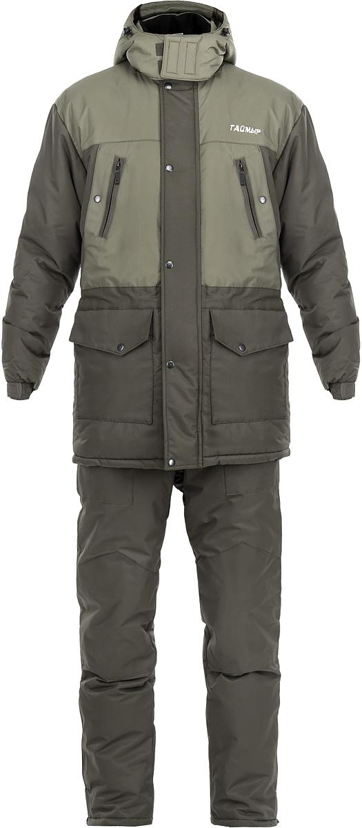 Костюм зимний мужской Тайга Север Таймыр, цвет: олива. 0054558. Размер 60/62-170/1760054558 ТаймырРыболовный костюм Таймыр состоит из удлиненной куртки и полукомбинезона. Костюм изготовлен из нейлона таслана с утеплителем Аляска. Утеплитель Аляска изготавливается из высокоизвитых полых силиконизированных волокон, что придает данному утеплителю высокие показатели по теплоизолирующим и компрессионным свойствам. Костюм предназначен для носки при температуре до -35°С. Куртка прямого кроя со съемным регулируемым кулиской капюшоном. Застегивается куртка на застежку-молнию и ветрозащитный клапан на кнопках. Воротник-стойка с мягкой микрофлисовой подкладкой. По линии талии расположена внутренняя кулиска со стопперами. Манжеты рукавов собраны эластичной резинкой и фиксированы липучкой. Удобная конструкция карманов: на груди два врезных кармана на молниях и два прорезных кармана на кнопках, два накладных кармана с клапанами на кнопках в нижней части куртки. Также на внутренней стороне предусмотрен один накладной вместительный карман на молнии. Полукомбинезон имеет свободный, не стесняющий движения покрой. Высокая спинка надежно защищает спину от холодного воздуха. Резинка по талии регулирует полукомбинезон по объему. Застегивается изделие на молнию и клапан с кнопками. Широкие удобные бретели из помочной резины регулируют длину по росту. В модели два боковых прорезных кармана и один нагрудный на молнии. Область коленей усилена накладками. В нижней части бокового шва брючин разрезы с молниями. Разъемные снегозащитные муфты на велкро, обеспечивающие удобное обувание даже высокой и объемной обуви.В таком костюме вам не страшен холод во время вашего отдыха на природе или на рыбалке.