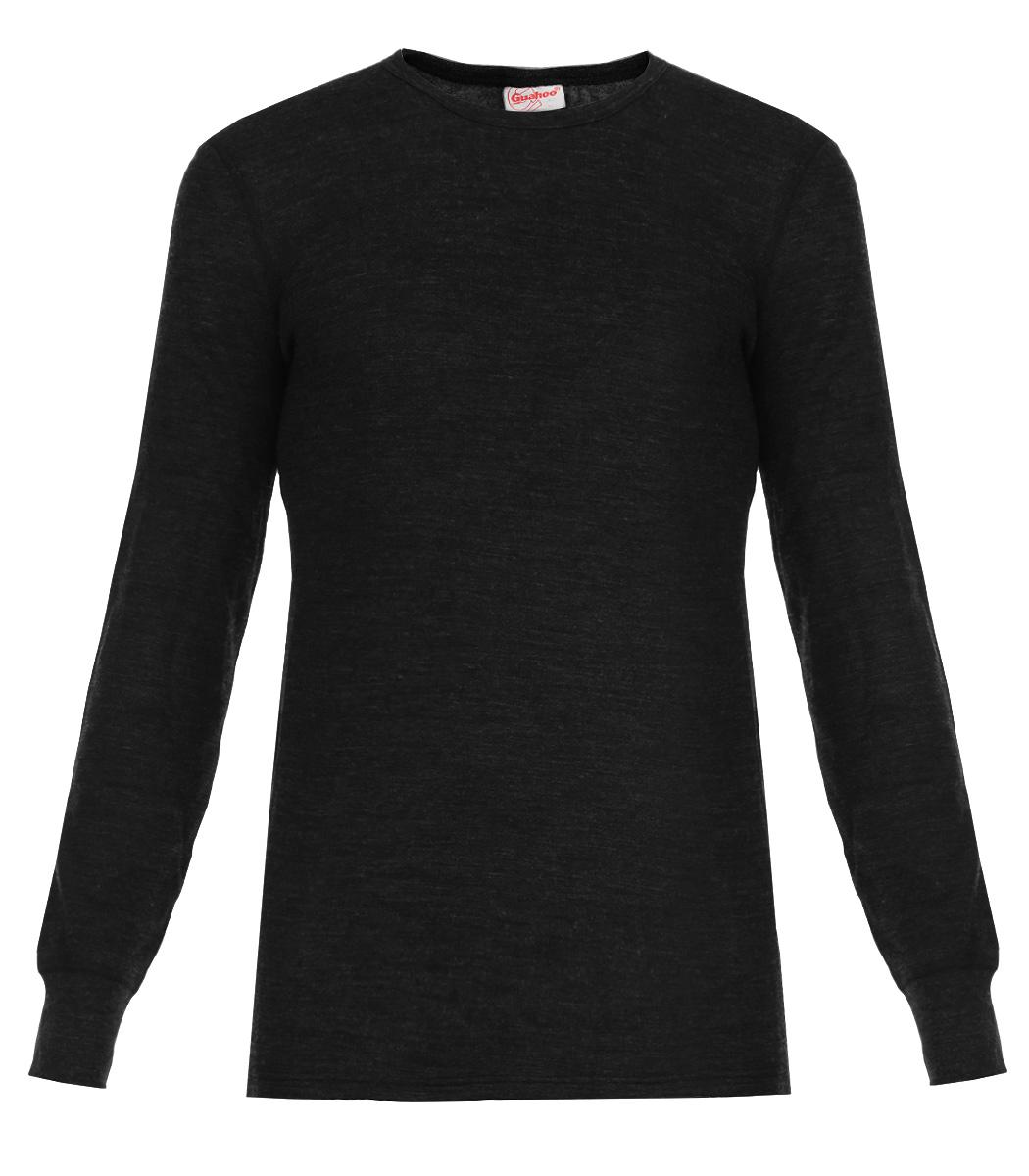 Термобелье футболка с длинным рукавом мужская Guahoo Everyday, цвет: черный. 21-0460-S. Размер XL (54)21-0460-SДвухслойная мужская футболка с длинным рукавом Guahoo Everyday подходит для повседневной носки в холодную погоду. Идеальное сочетание различных видов пряжи с добавлением натуральной шерсти во внешнем слое, а также специальное плетение обеспечивают эффективное сохранение тепла. Внутренний слой полотна - из мягкой акриловой пряжи, которая по своим теплосберегающим свойствам не уступает шерсти. Начес на внутренней стороне полотна лучше сохраняет тепло за счет дополнительной воздушной прослойки.Футболка с длинными рукавами и круглым вырезом горловины оформлена небольшой нашивкой с названием бренда. Рукава дополнены широкими трикотажными манжетами.Рекомендуемый температурный режим от -20°С до -40°С.