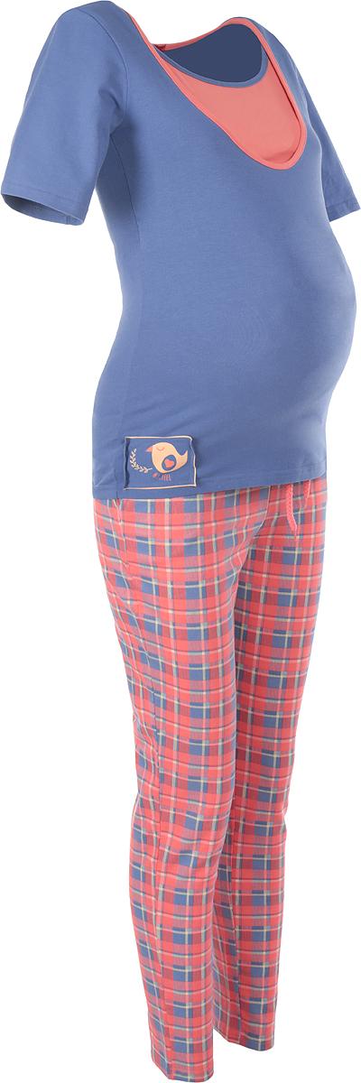 Пижама для беременных и кормящих Мамин Дом Glory, цвет: синий, коралловый, желтый. 24171. Размер 4224171Удобная и стильная пижама для беременных и кормящих мам Мамин Дом Glory, изготовленная из эластичного хлопка, подчеркнет ваше очарование в этот прекрасный период вашей жизни. Пижама состоит из футболки и брюк.Футболка с короткими рукавами и круглым вырезом горловины имеет секрет кормления, выполненный в виде внутренней вставки, обеспечивающей быстрый доступ к груди. Футболка оформлена оригинальной нашивкой и контрастной бейкой.Плотные брюки с завышенной талией дополнены скрытым шнурком. Эластичный пояс создает дополнительную поддержку, выполняя роль бандажа. Брюки дополнены двумя втачными карманами и оформлены принтом в клетку. Благодаря свободному крою, такая пижама подарит вам комфорт на любом сроке беременности, и после родов.Одежда, изготовленная из хлопка, приятна к телу, сохраняет тепло в холодное время года и дарит прохладу в теплое, позволяет коже дышать.