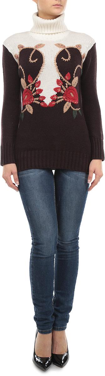 Свитер женский Baon, цвет: коричневый, молочный, красный. B135556. Размер XS (42)B135556_DARK CHOCOLATEЖенский свитер Baon станет стильным дополнением к вашему гардеробу. Выполненный из полиамида и акрила с добавлением шерсти, он очень мягкий и приятный на ощупь, не сковывает движения и позволяет коже дышать, обеспечивая комфорт.Свитер с длинными рукавами и высоким воротником-гольф великолепно подойдет для создания современного образа в стиле Casual. Манжеты рукавов, ворот и низ изделия связаны крупной резинкой. Модель оформлена цветочной вышивкой.Такой свитер идеально подойдет для прохладной погоды, в нем вы всегда будете чувствовать себя уютно и комфортно.