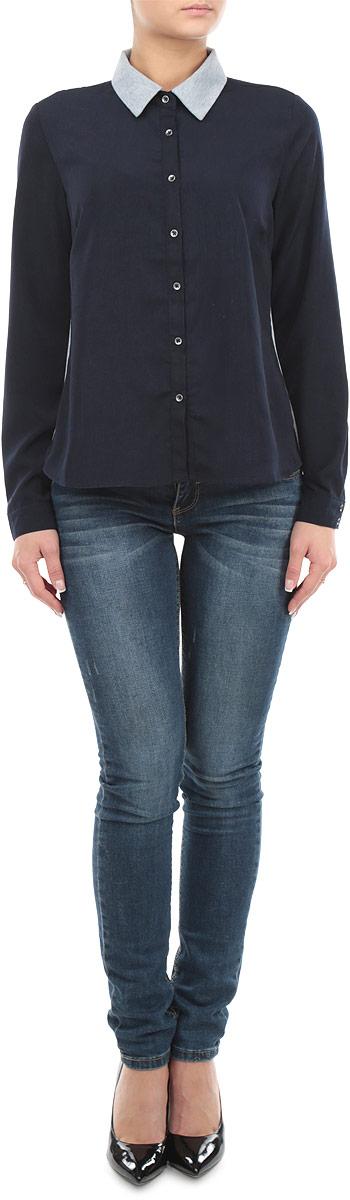 Рубашка женская Broadway, цвет: темно-синий, серый. 10153992_599. Размер XL (50)10153992_599Стильная женская рубашка-блузка Broadway с длинными рукавами, отложным воротником и застежкой на пуговицы приятная на ощупь, не сковывает движения, обеспечивая наибольший комфорт. Изделие выполнено из двух видов ткани. Рубашка обладает высокой воздухопроницаемостью и гигроскопичностью, позволяет коже дышать, тем самым обеспечивая наибольший комфорт при носке даже самым жарким летом.Эта модная и удобная рубашка послужит замечательным дополнением к вашему гардеробу.