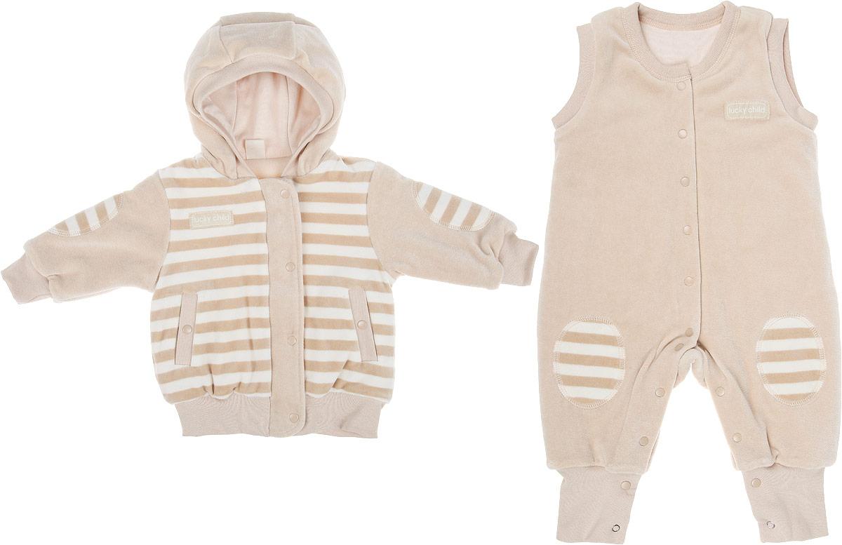 Комплект детский Lucky Child Велюр: куртка, комбинезон, цвет: бежевый. 5-7. Размер 56/62, 0-3 месяца5-7Детский утепленный комплект Lucky Child Велюр, состоящий из куртки и комбинезона, идеально подойдет вашему ребенку в прохладную погоду. Выполненный из хлопка с добавлением полиэстера, он удивительно мягкий и приятный на ощупь, не сковывает движения ребенка и позволяет коже дышать, не раздражает даже самую нежную и чувствительную кожу ребенка, обеспечивая ему наибольший комфорт. В качестве утеплителя используется синтепон. Он хорошо удерживает тепло и восстанавливает свою форму. Подкладка куртки и комбинезона изготовлена из 100% хлопка. Куртка с капюшоном и длинными рукавами застегивается на молнию с ветрозащитной планкой на кнопках по всей длине. Манжеты рукавов, край капюшона и низ изделия дополнены трикотажными резинками. Спереди предусмотрены два втачных кармашка на кнопках.Комбинезон с открытыми ножками имеет застежки-кнопки от горловины до пяточек, которые помогают легко переодеть младенца или сменить подгузник. Низ брючин дополнен широкими трикотажными манжетами.Модель оформлена принтом в полоску, а также небольшими нашивками с названием бренда. Отличное качество, дизайн и расцветка делают этот комплект незаменимым предметом детского гардероба. В нем вашему ребенку будет тепло, комфортно и уютно!