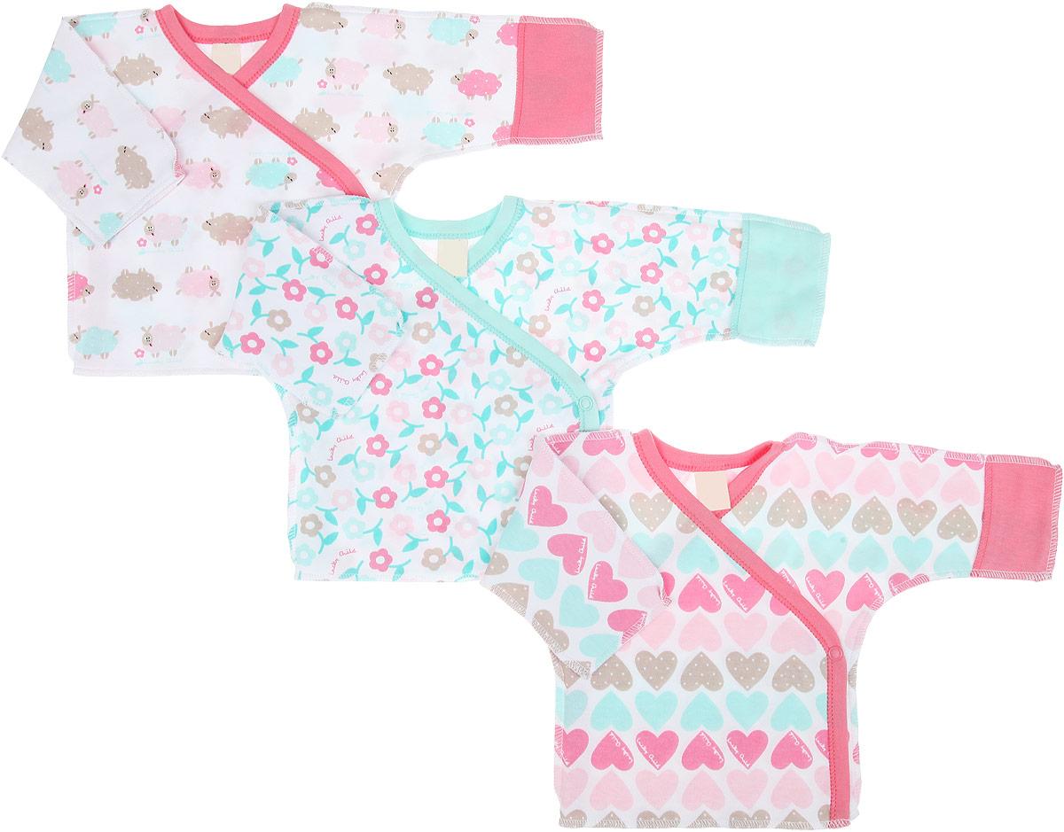 Распашонка-кимоно для девочки Lucky Child Овечки, цвет: белый, розовый, светло-зеленый, 3 шт. 30-147. Размер 50/56, 0-1 месяц30-147Распашонка-кимоно для девочкиLucky Child Овечки послужит идеальным дополнением к гардеробу вашей малышки, обеспечивая ей наибольший комфорт. Распашонка, выполненная швами наружу, изготовлена из натурального хлопка, благодаря чему она необычайно мягкая и легкая, не раздражает нежную кожу ребенка и хорошо вентилируется. Эластичные швы приятны телу младенца и не препятствуют его движениям. Распашонка с длинными рукавами и V-образным вырезом горловины застегивается с помощью кнопок по принципу кимоно, что помогает с легкостью переодеть малышку. Рукава дополнены рукавичками, благодаря которым ребенок не поцарапает себя. Ручки могут быть как открытыми, так и закрытыми. В комплект входят три распашонки с различными принтами, выполненных в нежной цветовой гамме. Распашонка полностью соответствует особенностям жизни ребенка в ранний период, не стесняя и не ограничивая его в движениях. В ней ваша дочурка всегда будет в центре внимания.